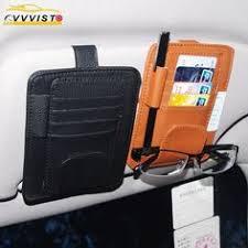 Leather <b>Auto</b> Sunshade Visor Storage Bag <b>Car Sunvisor</b> Card ...