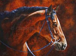 oil painting of bay hanoverian horse by equine artist crista forest foreststudios com