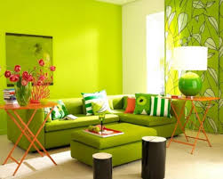 Green Living Room Color Schemes With Contemporary Table Lamps