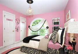 Place Gorgeous Bed Inside Cute Girls Bedroom Decor With Black Nightstands  And Pink Painted Wall