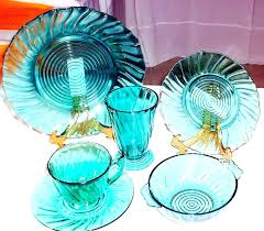 colored glass plates dinnerware drawn crystal depression 6 amber dinner
