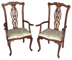 Pair of 2 Mahogany Queen Anne Floral Dining Arm Chairs