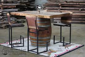 wine barrel bar pub table with redwood table top