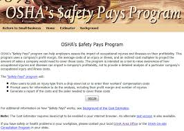 screen capture of safety pays program for problems with accessibility in using figures and ilrations workers compensation costs