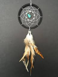 Small Dream Catchers For Sale Dream Catcher for Car Mirror Black and White with Turquoise 2