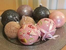 8x Weihnachtskugel Christbaumschmuck Silber Rosa Maison Du