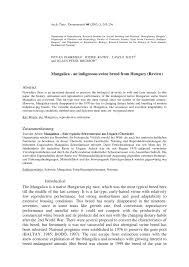 Mangalica An Indigenous Swine Breed From Hungary Review Pdf