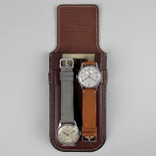 bespoke handmade leather watch case for one or two wrisches