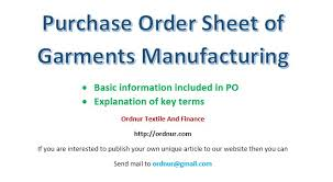 purchase order spreadsheet purchase order sheet of garments manufacturing ordnur