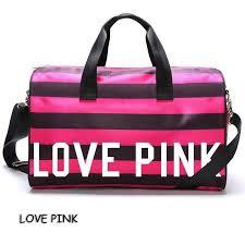 victoria s secret love pink black pink stripes cylinder sport gym bag