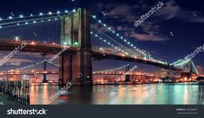 Brooklyn Bridge Lights Brooklyn Bridge Over East River Night Stock Photo Edit Now
