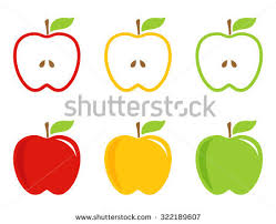 green and red apple clipart. yellow, green and red stylized apples. apples whole half in bright colors. apple clipart