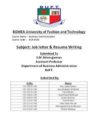 Letter Of Resume Job Letter Resume Writing