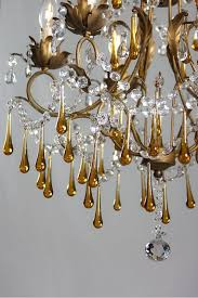 antique italian chandelier with amber colored drops