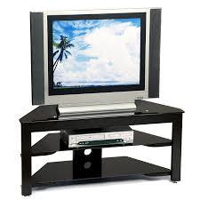 black wood  black glass corner flat screen tv stand – tvstandcom