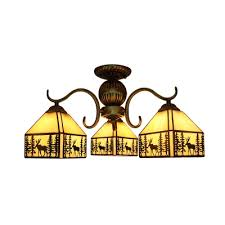 lodge style 3 5 bulb elk pattern chandelier ceiling light with stained glass square