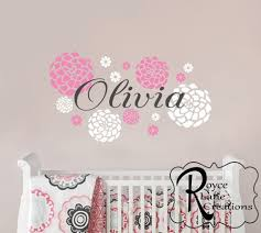 baby girl nursery decal baby girl name and dahlia flowers 36x20 on girl nursery vinyl wall art with 14 baby wall art decals wall decal baby nursery wall art girl or