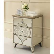 Stunning 3 Drawers Moroccan Mirrored Bedside Table Featuring Table Clock  And Glass Vase For Glamorous Bedroom