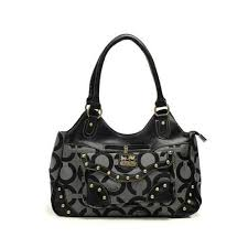 Coach Logo Stud Medium Grey Satchels DYR Give You The Best feeling!