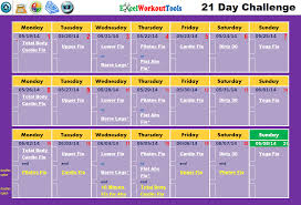 21 day calendar template