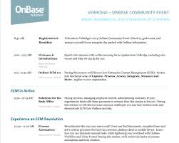 Event Agenda Fall OnBase Community Event Agenda VeBridge 2