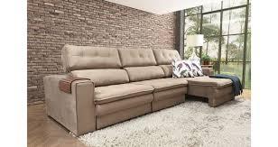 sofá 5 lugares retrátil reclinável bege erus