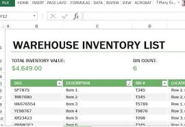 Tracking Inventory Excel Warehouse Inventory Excel Template
