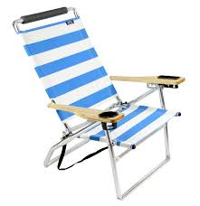 deluxe 4 position high seat aluminum beach chair blue stripe