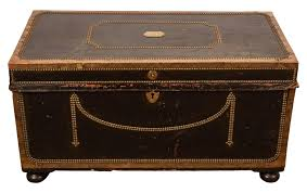 19th Century English Leather Trunk with Nail Head - Georgian Victorian  Traditional Decorative Objects - Dering Hall