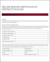 Example Certificate Fresh Hard Drive Certificate Of Destruction
