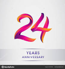 24th Years Anniversary Celebration Logotype Colorful Design