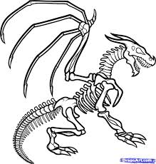 Small Picture Dinosaur Bones Drawing How To Draw A Dragon Skeleton Step 13 1