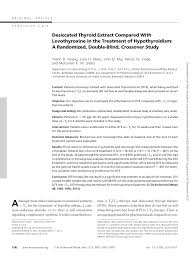 pdf desiccated thyroid extract pared with levothyroxine in the treatment of hypothyroidism a randomized double blind crossover study