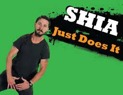 shia just does it shia labeouf green t shirt text hair