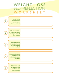 Weight Loss Worksheets Weight Loss Self Reflection Worksheet