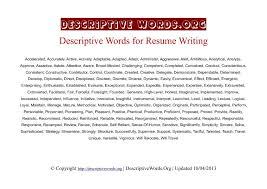 Describing Words For A Resume Good Resume Words To Describe