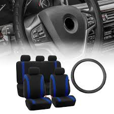 blue black seat covers combo with black leather steering wheel cover for auto 0