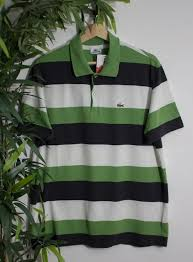 polo shirt lacoste green black white striped