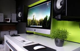 amusing wall mounted imac and desk mod with computer components design ideas feat beautiful indoor green plant