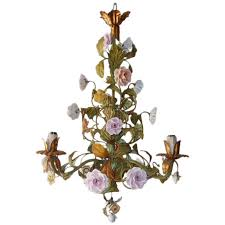 italian tole porcelain roses flowers chandelier for