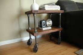 industrial furniture wheels. Furniture, Small And Vintage Industrial Furniture Design With Metal Pipe Wheels Plus Bookshelf