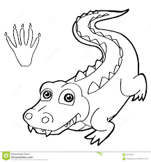 Small Picture Paw Print With Crocodile Coloring Pages Vector Stock Vector