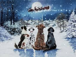 Snow Light Details About Winter Christmas Dogs Santa Village Tree Snow Light Up Led Canvas Picture