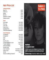 Hair Salon Price List Sample Template Free Download – Ffshop Inspiration