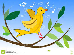 Yellow Bird Design Yellow Bird Singing On Branch With Green Leaves Cute Spring