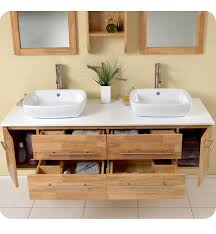floating bathroom vanities. Bathroom. Timber Wood Floating Bathroom Vanity Design With Double Ceramic Sink And Two Mirror Vanities