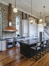 Kitchen:Dining Set And Kitchen Cabinetry System With Brick Wall Panel  Exposed Wall Brick And