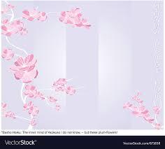 Haiku Pattern Adorable Spring Flower Pattern With Japanese Haiku Vector Image