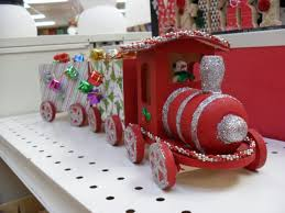 decorate a wooden christmas train