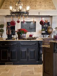 kitchens with black distressed cabinets. French Country Kitchen With A Distressed Black Island And Rustic Wood Cabinets (via Rick Hoge) Love The Floor Kitchens